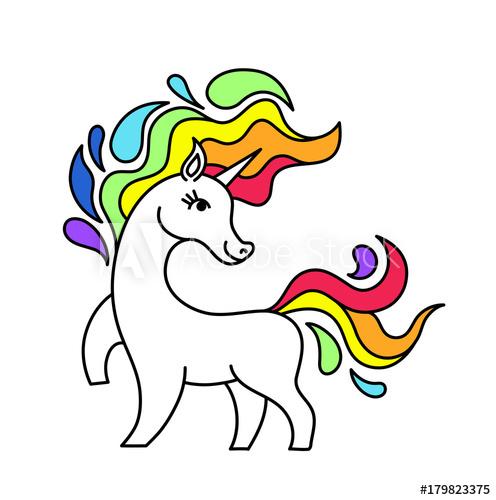 Sticker vector unicorn and rainbow isolated.cartoon unicorn.