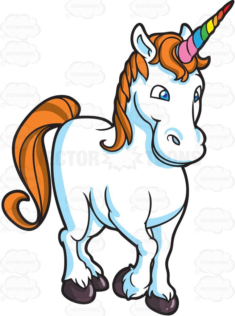 A white unicorn with blue eyes, rainbow colored spiraling.