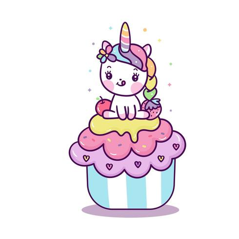 Cute Unicorn on cupcake.