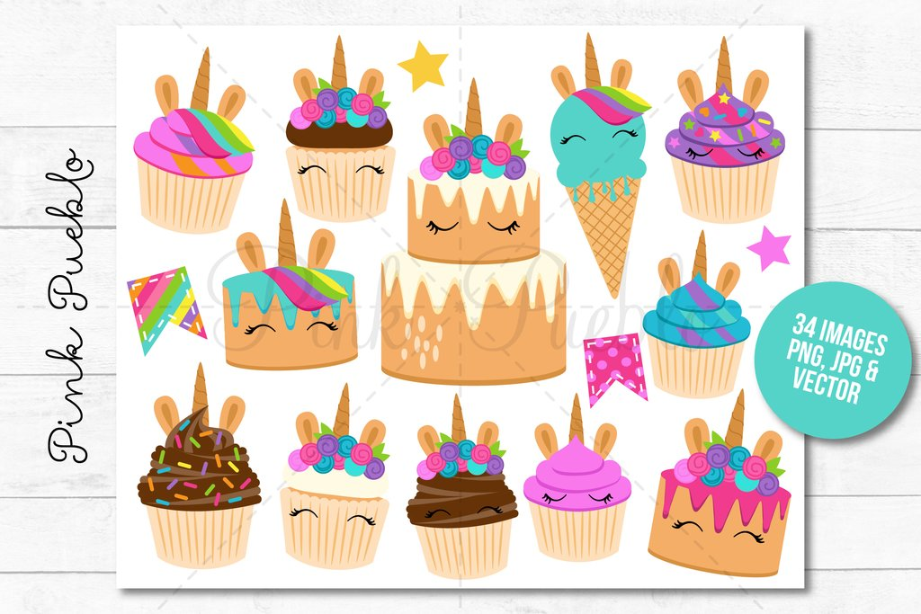 Unicorn Birthday and Cupcake Clipart.