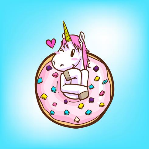 cute unicorn and donuts.