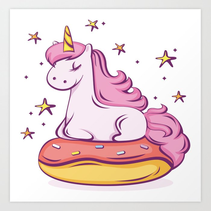 Unicorn Donut Art Print by thed3dshack.
