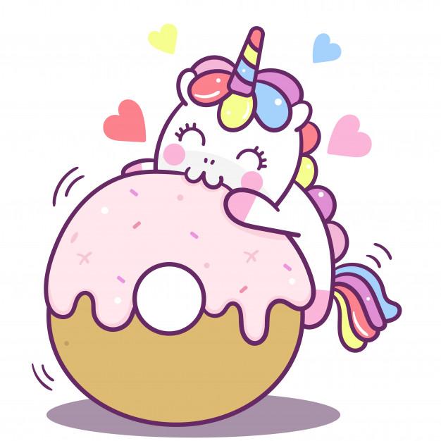 Cute unicorn vector yummy donut Vector.