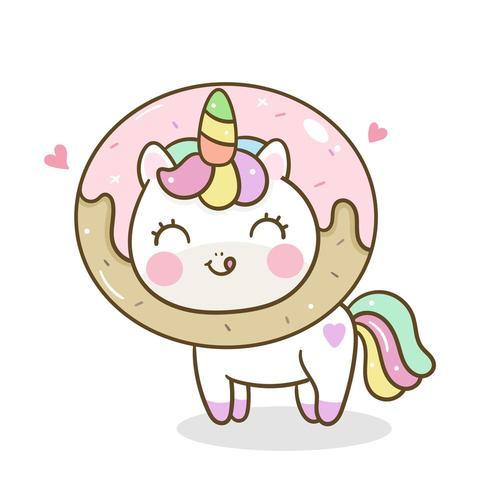 Yummy food Unicorn and Donut.