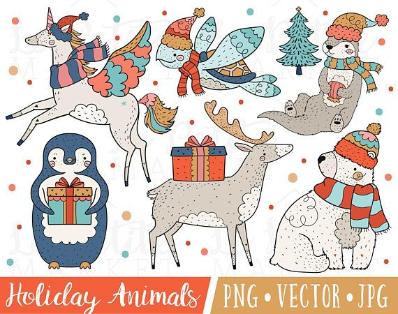 Festive Holiday Animal Clipart Images, Christmas.