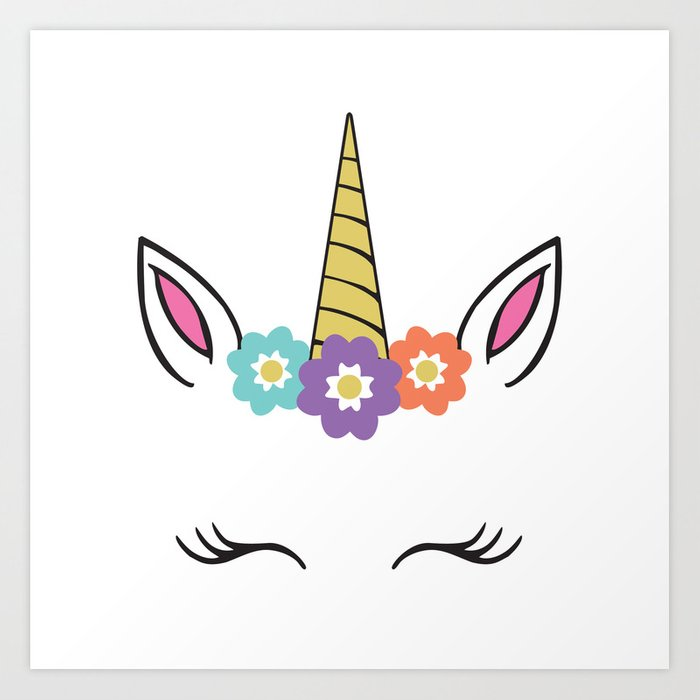 Unicorn Face flowers eyelashes horn ears Art Print by designgallery.