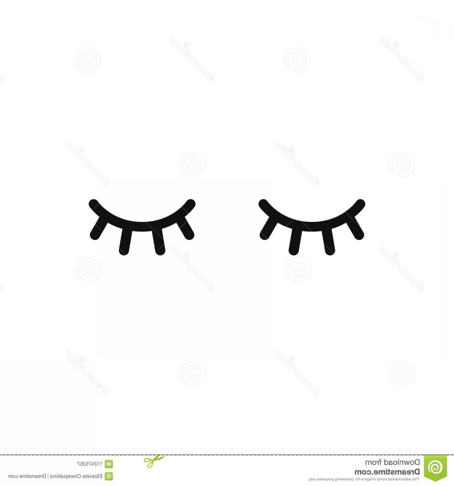Vector Unicorn Eyelashes Closed Woman Eyes Icon Cute Design.
