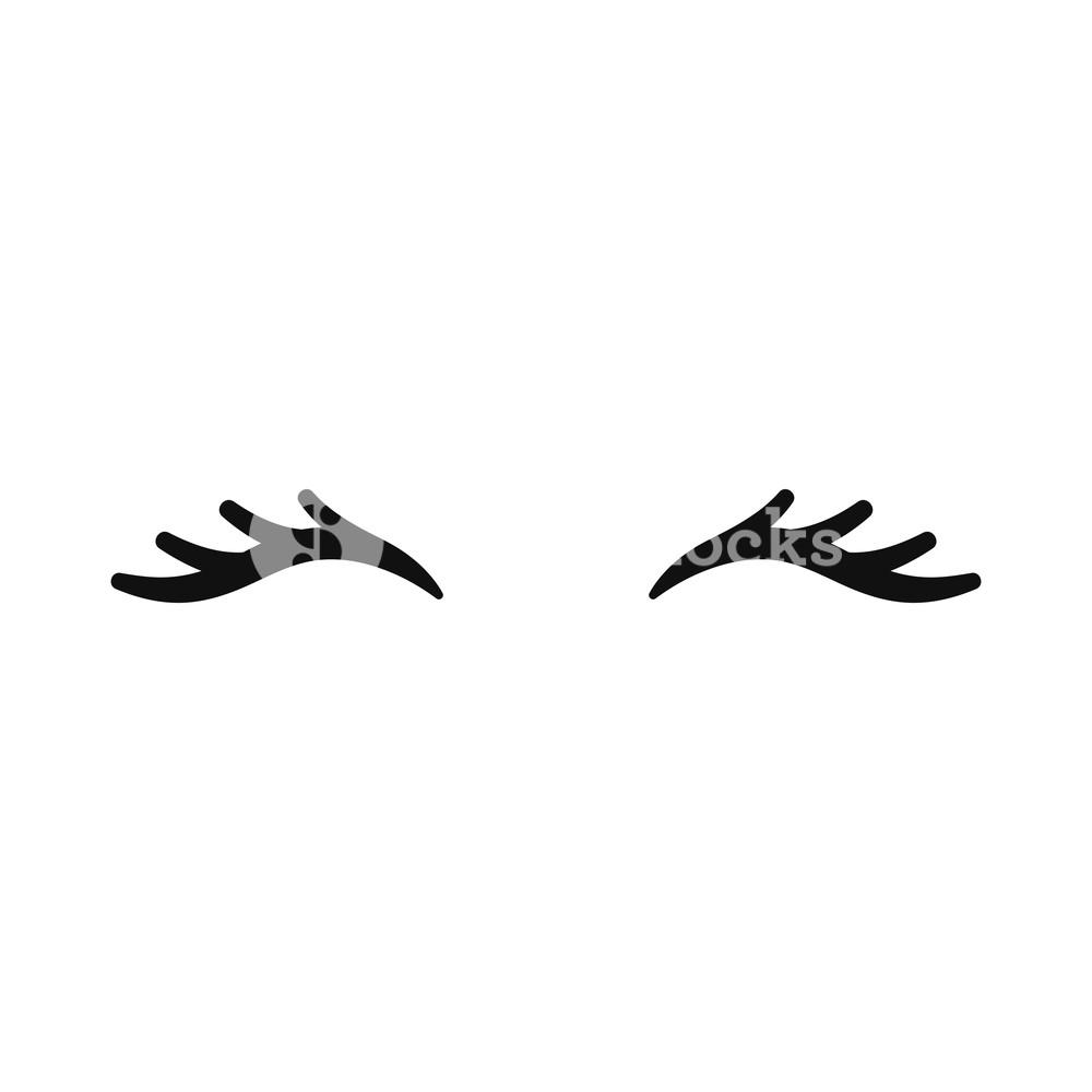 Vector unicorn eyelashes. Closed eyes. Vector icon. Cute.