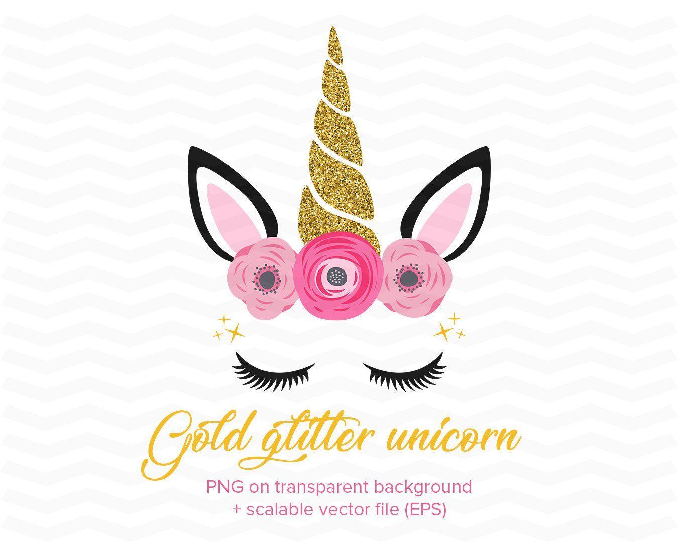 Glitter Unicorn Face Clipart.
