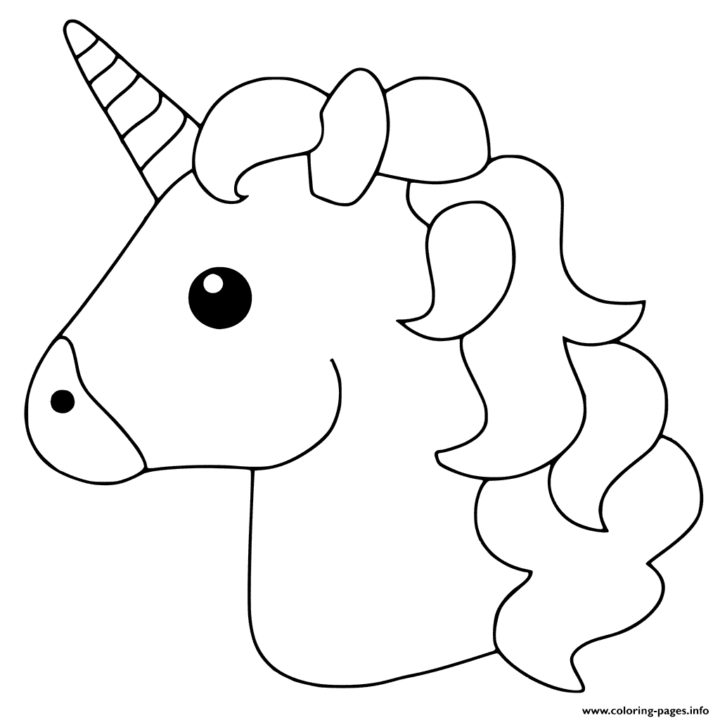 Unicorn Face Coloring Pages.