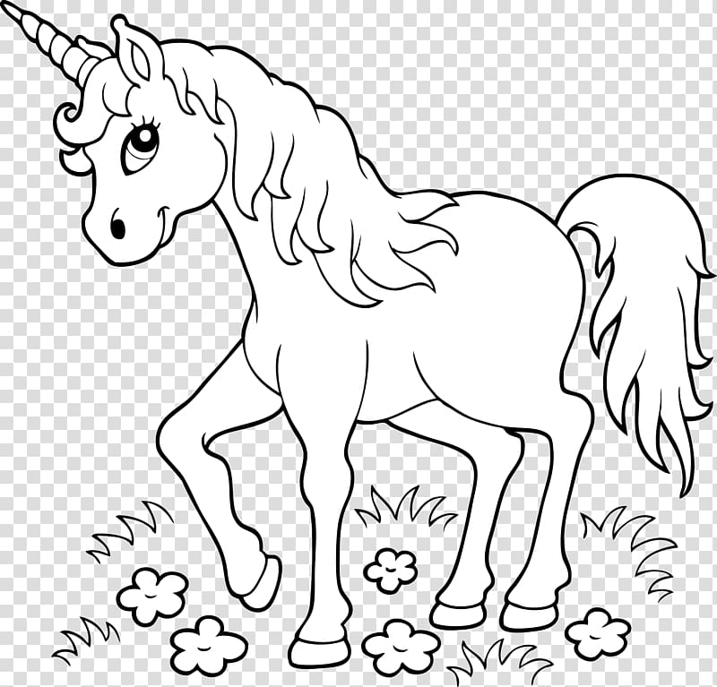 White unicorn artwork, Unicorn Coloring book Page Child.