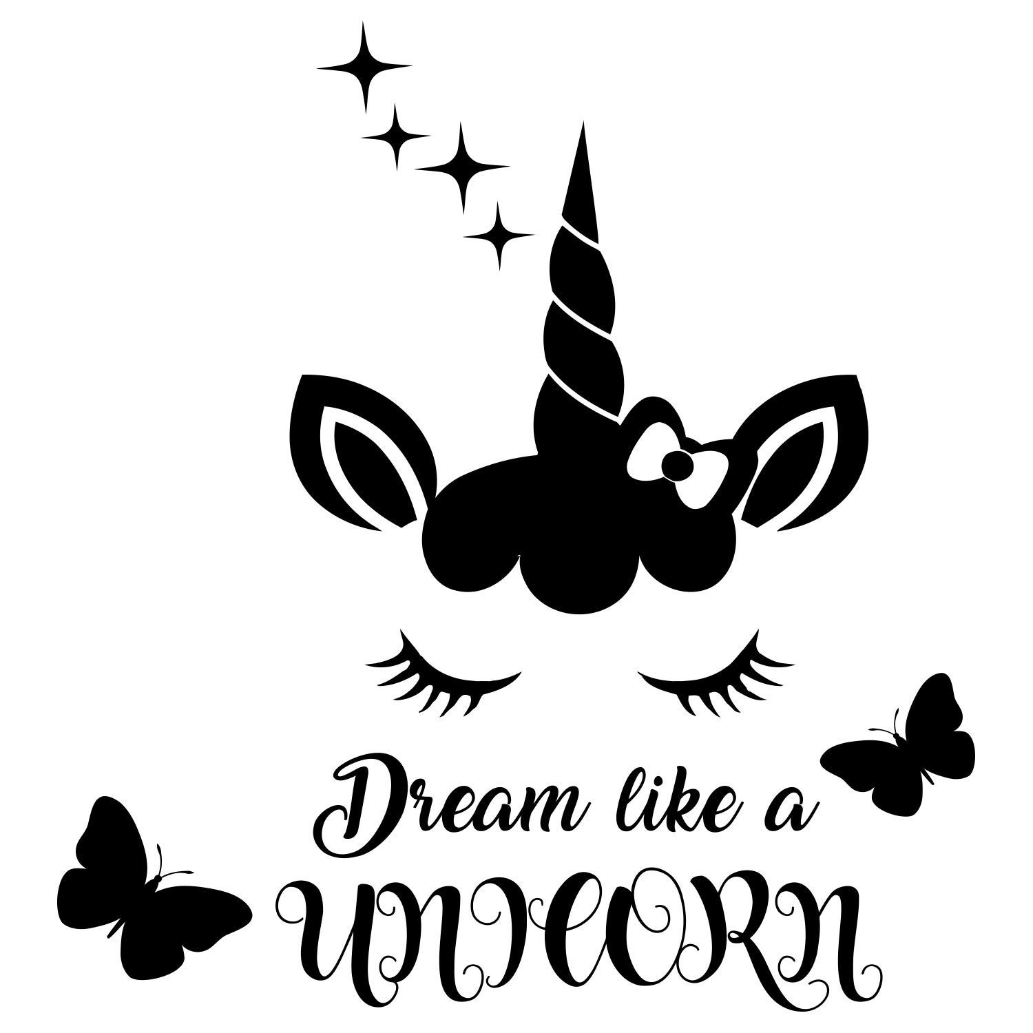 Amazon.com: Quote Dream like a Unicorn. Butterfly Decal.