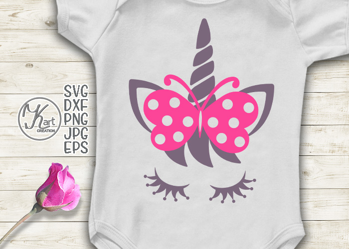 Unicorn face eyelashes with bow butterfly svg dxf clipart.
