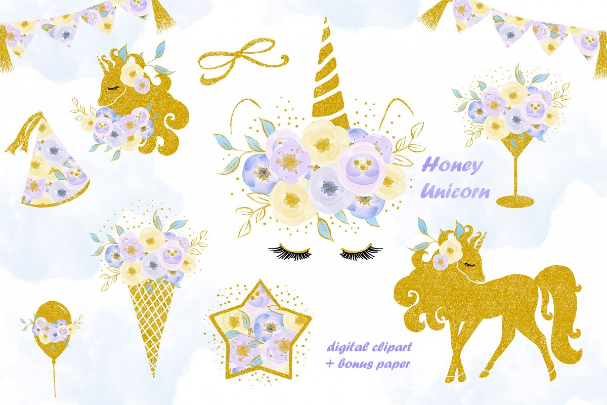 Unicorn clip art, flowers with gold.