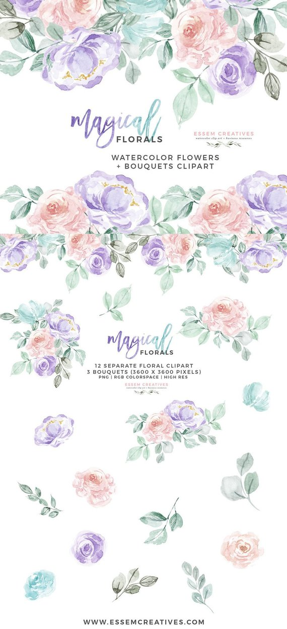 Watercolor Flowers Clipart, Winter Floral Clipart, Rainbow.