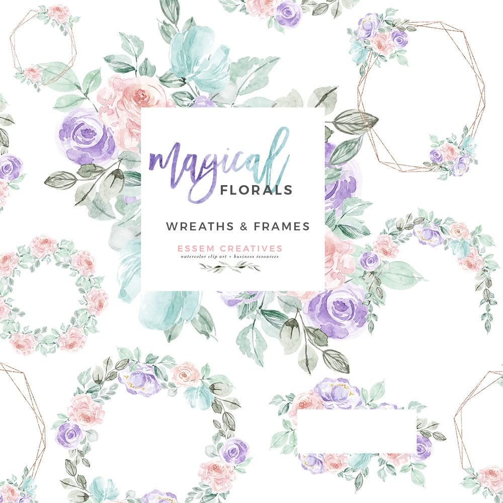 Watercolor Winter Floral Wreath Frames Clipart, Unicorn Rainbow Magical  Flowers Graphics PNG Wedding Invitations.
