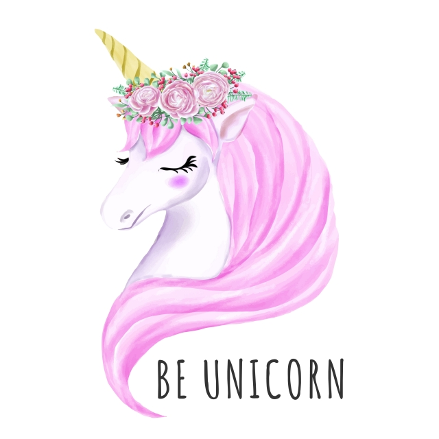 Sweet Unicorn With Watercolor Flower Crown, Girl, Watercolor.