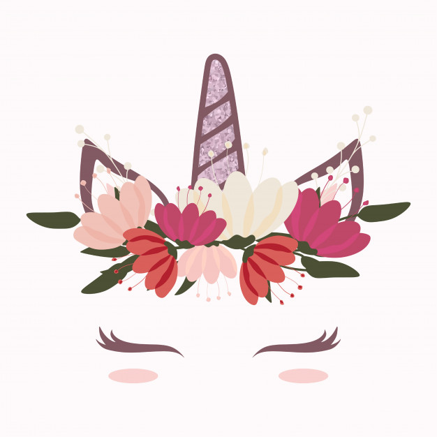 Cute unicorn head with beautiful flower crown Vector.