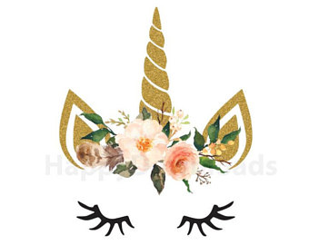 Unicorn Flower Crown Clipart.