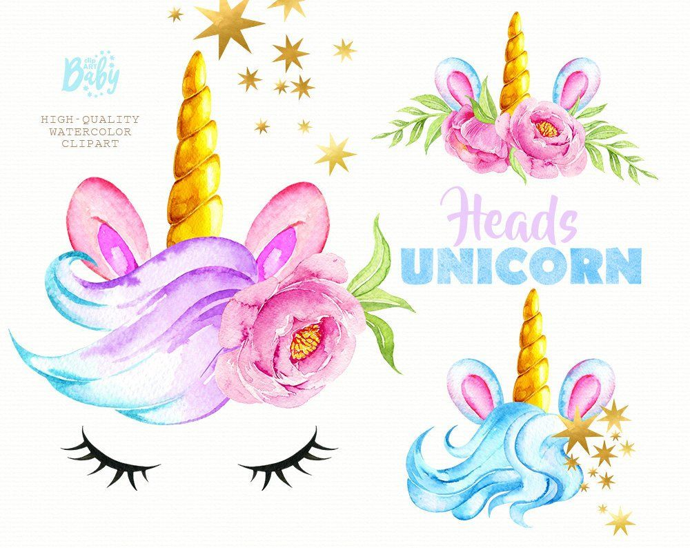 Unicorn Heads. Watercolor magical clipart, gold, stars.