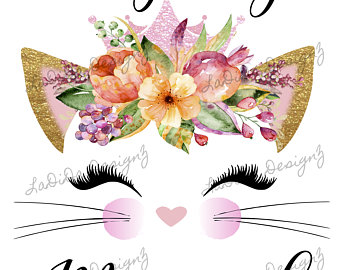 Cat clipart floral, Cat floral Transparent FREE for download.
