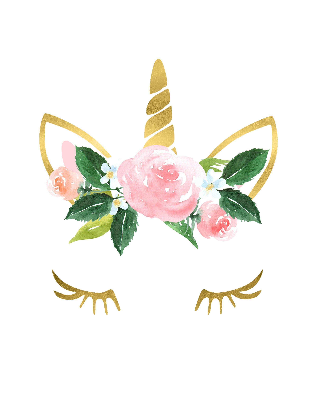 Gold Unicorn Flower Crown Nursery Girls Room Printable Wall.