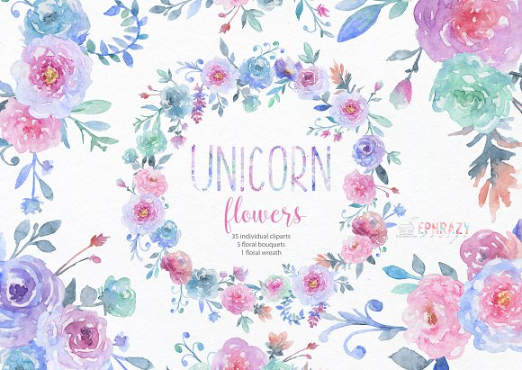 Unicorn flowers. Floral clipart.