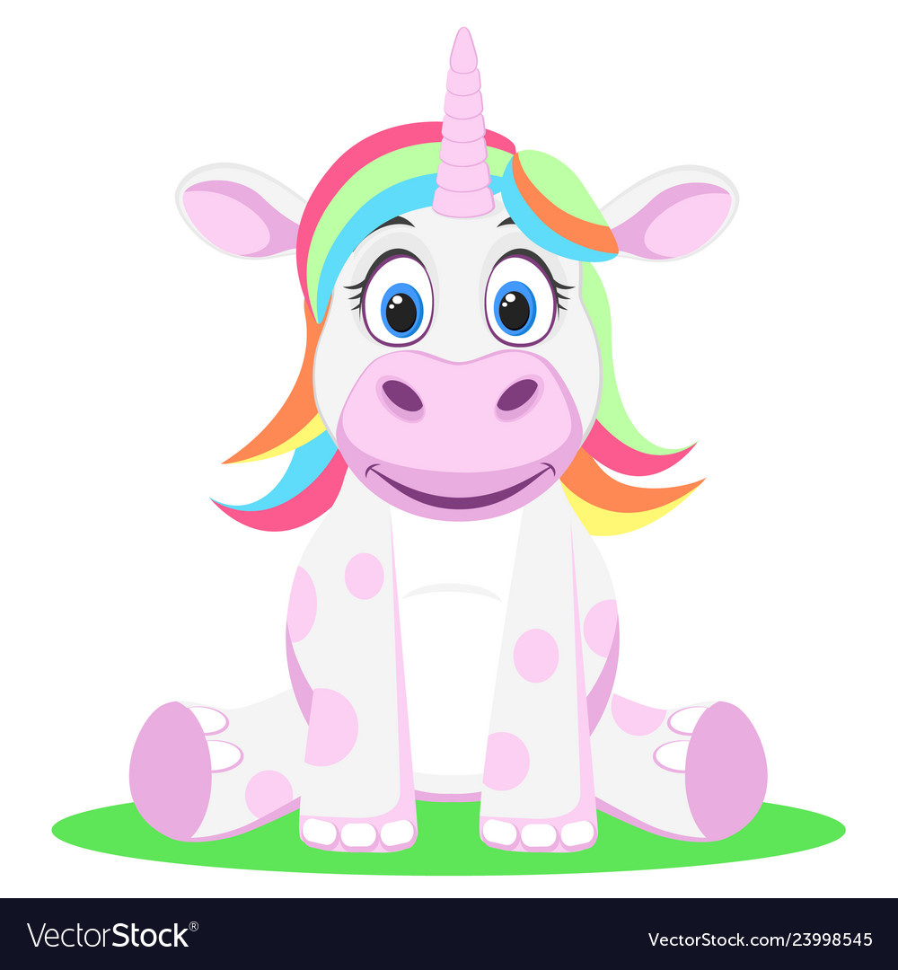 Unicorn with multicolored hair sits on a white.
