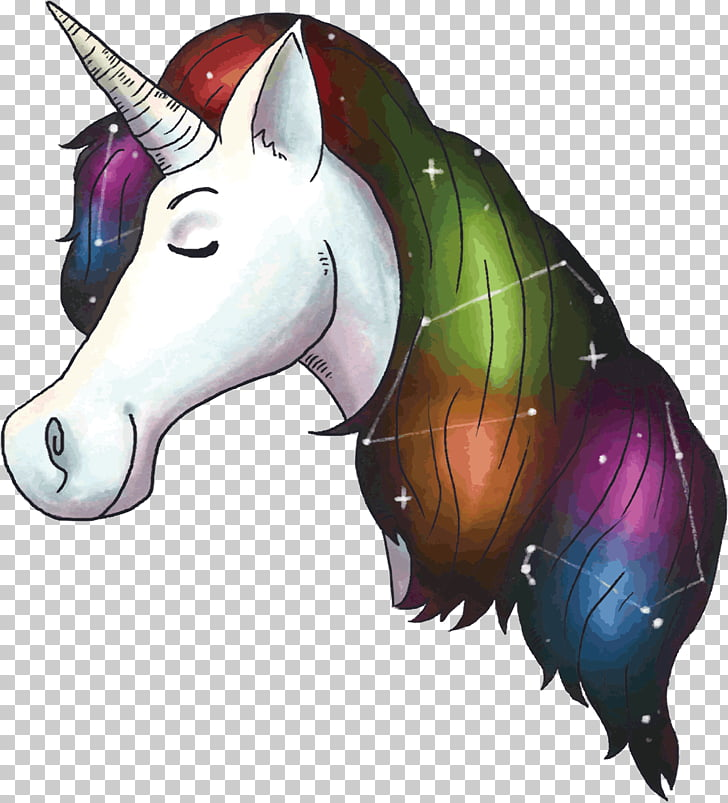 Unicorn Drawing, Bright Unicorn hair PNG clipart.