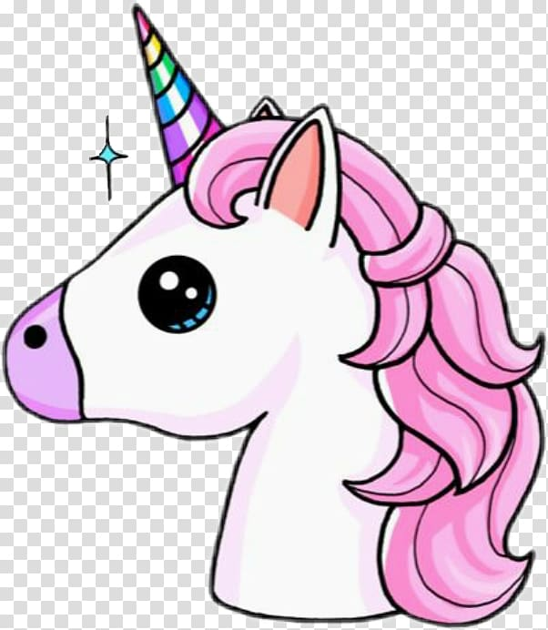 Pink and white unicorn illustration, Unicorn Drawing Kavaii.