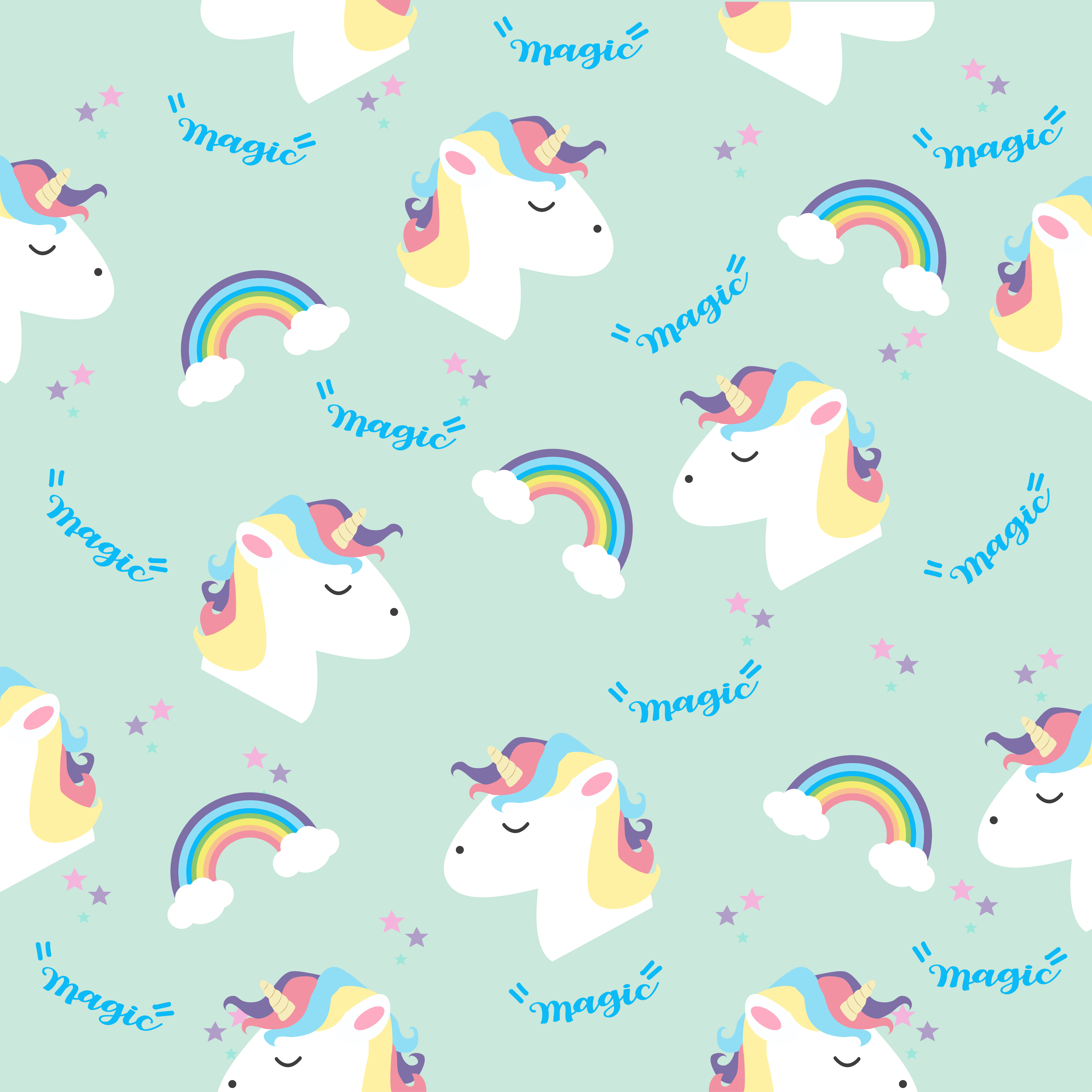 Unicorn head with rainbows in color pastel pattern.
