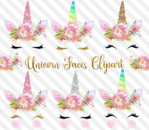 Unicorn Faces Clipart, rainbow, pink and gold watercolor.