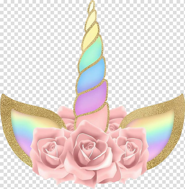 Pink and multicolored floral unicorn horn, Unicorn Legendary.