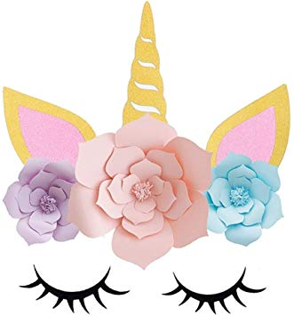 Unicorn Party Supplies, Favors & Decorations Backdrop,Handmade Unicorn Horn  Ears For Girls Boys Unicorn theme Birthday Party Baby Shower.