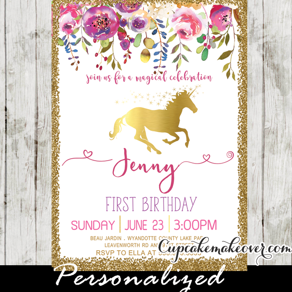Unicorn Party Invitations, Printable Pink Gold Floral First Birthday.