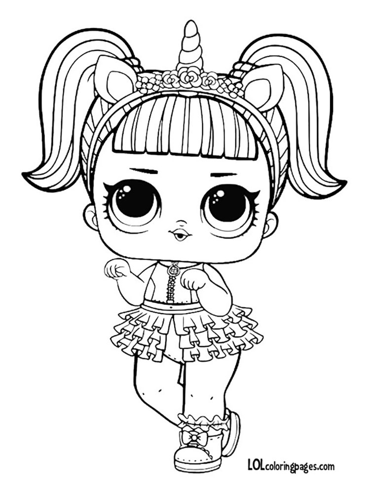 Lol Doll Coloring Pages Unicorn.
