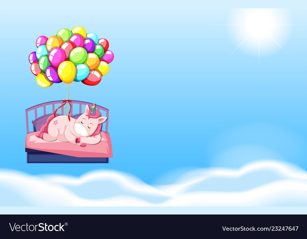 Unicorn sleeping in bed sky background.
