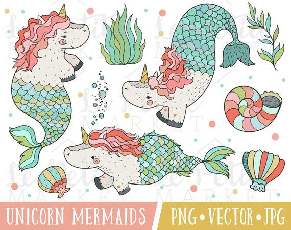 Unicorn Mermaids Clipart for Personal and Commercial Use.