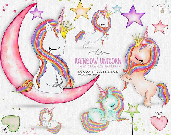 Rainbow Unicorn Clip Art, Watercolor Unicorn Clipart for.