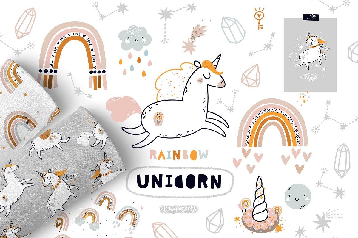 Rainbow Unicorn Clipart & patterns ~ Illustrations.