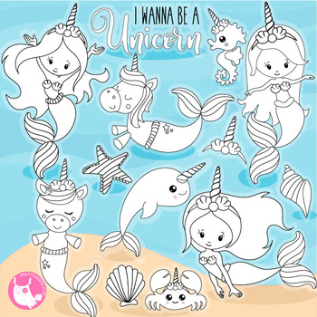 Sale Unicorn mermaid vector, commercial use black lines clipart.