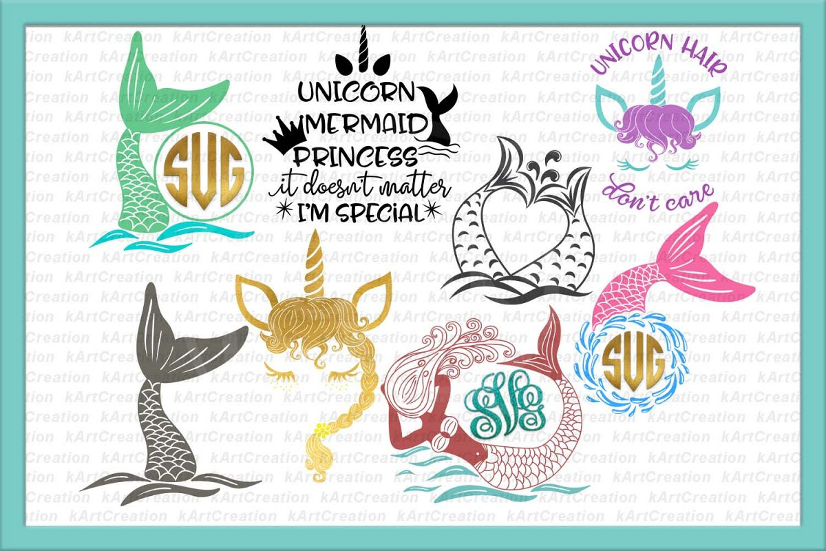 Unicorn Mermaid bundle svg dxf files clipart printable png.