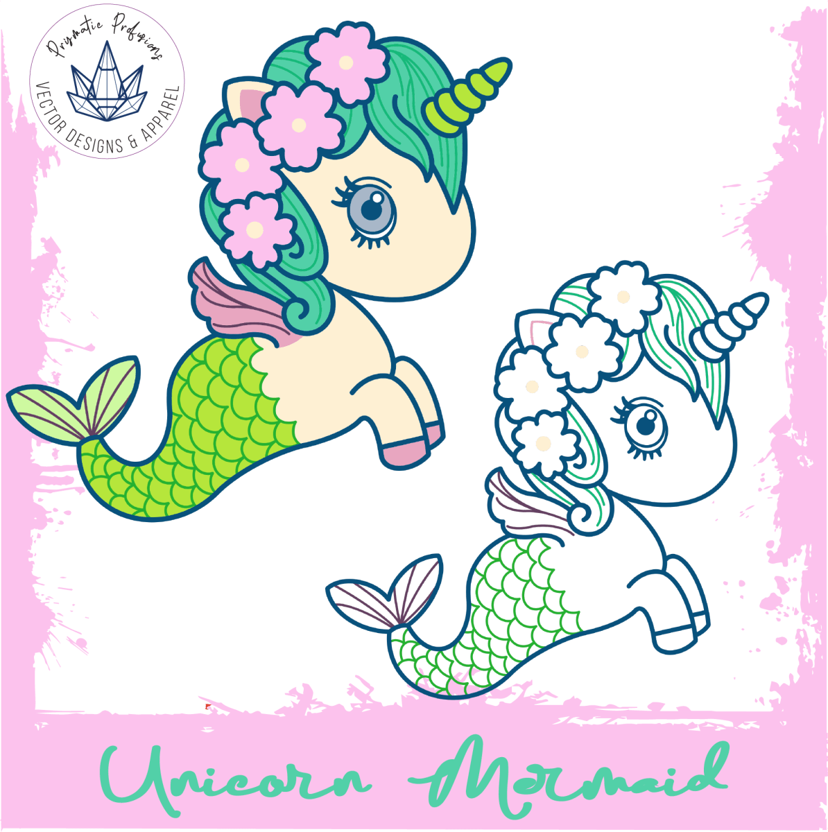 Unicorn Mermaid, Unicorn Mermaid SVG, Unicorn Mermaid Clipart.
