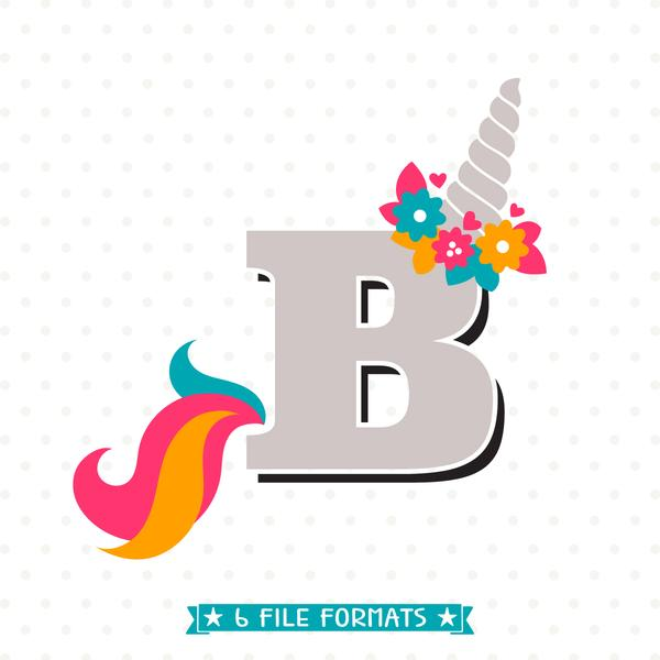 Letter B Unicorn SVG file.
