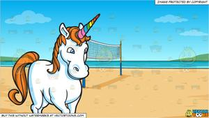 A Lovely Unicorn and Beach Volleyball Background.