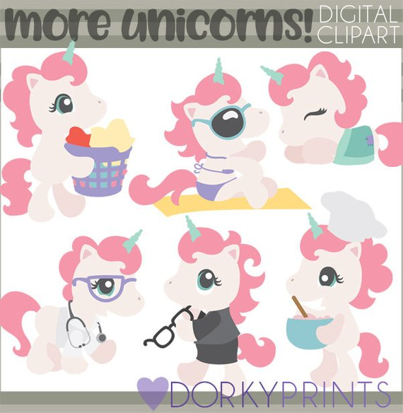 Unicorn Clipart Set.
