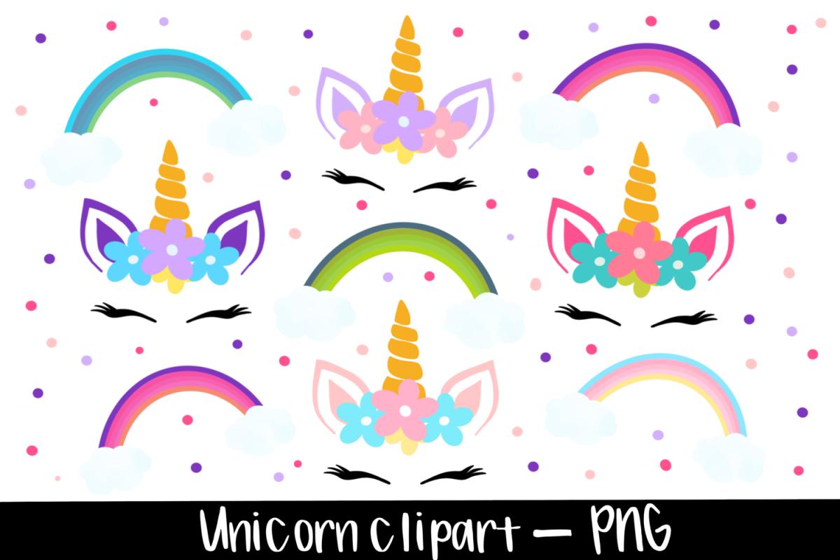 Colourful Unicorn And rainbow clipart bundle.