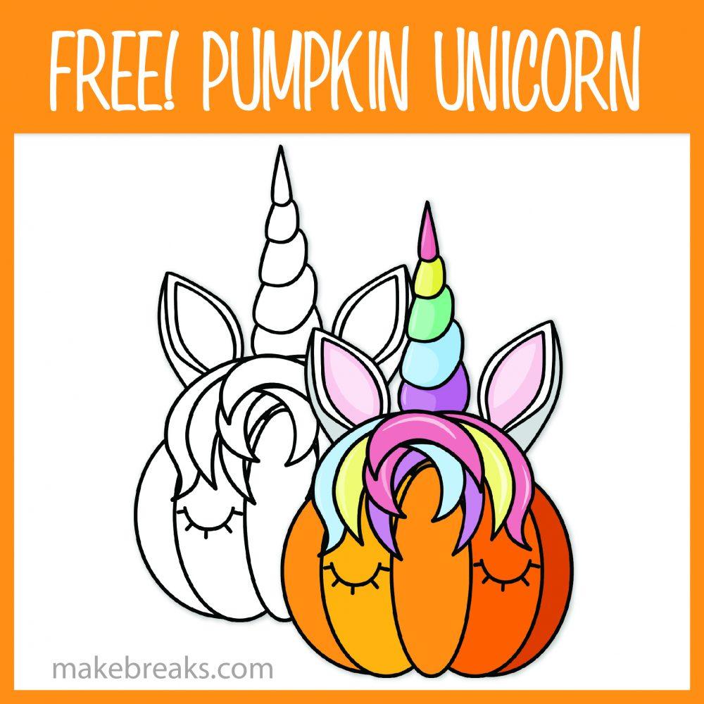 Unicorn Pumpkin Clipart For Teachers & Crafts.