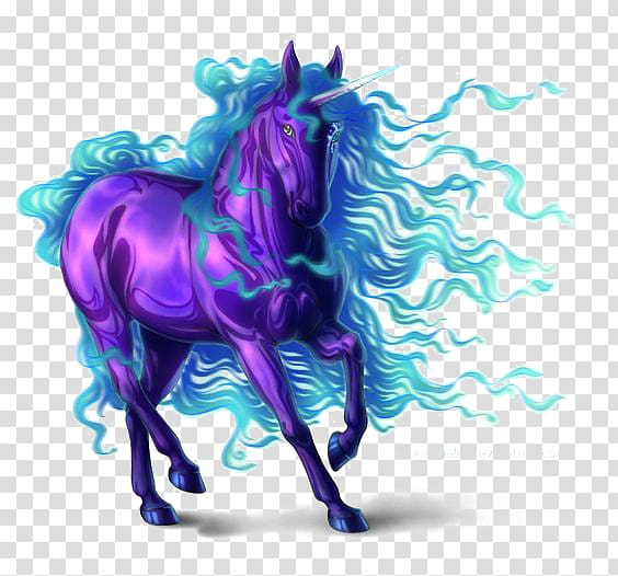 Purple and blue unicorn illustration, Unicorn Horse.