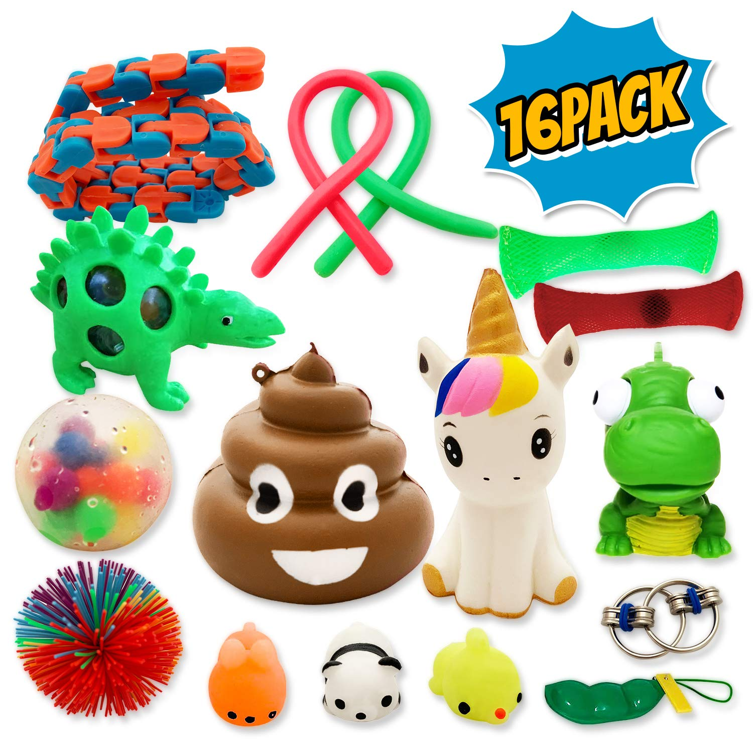 Pack of 16 Fidget Toys for Sensory Kids.